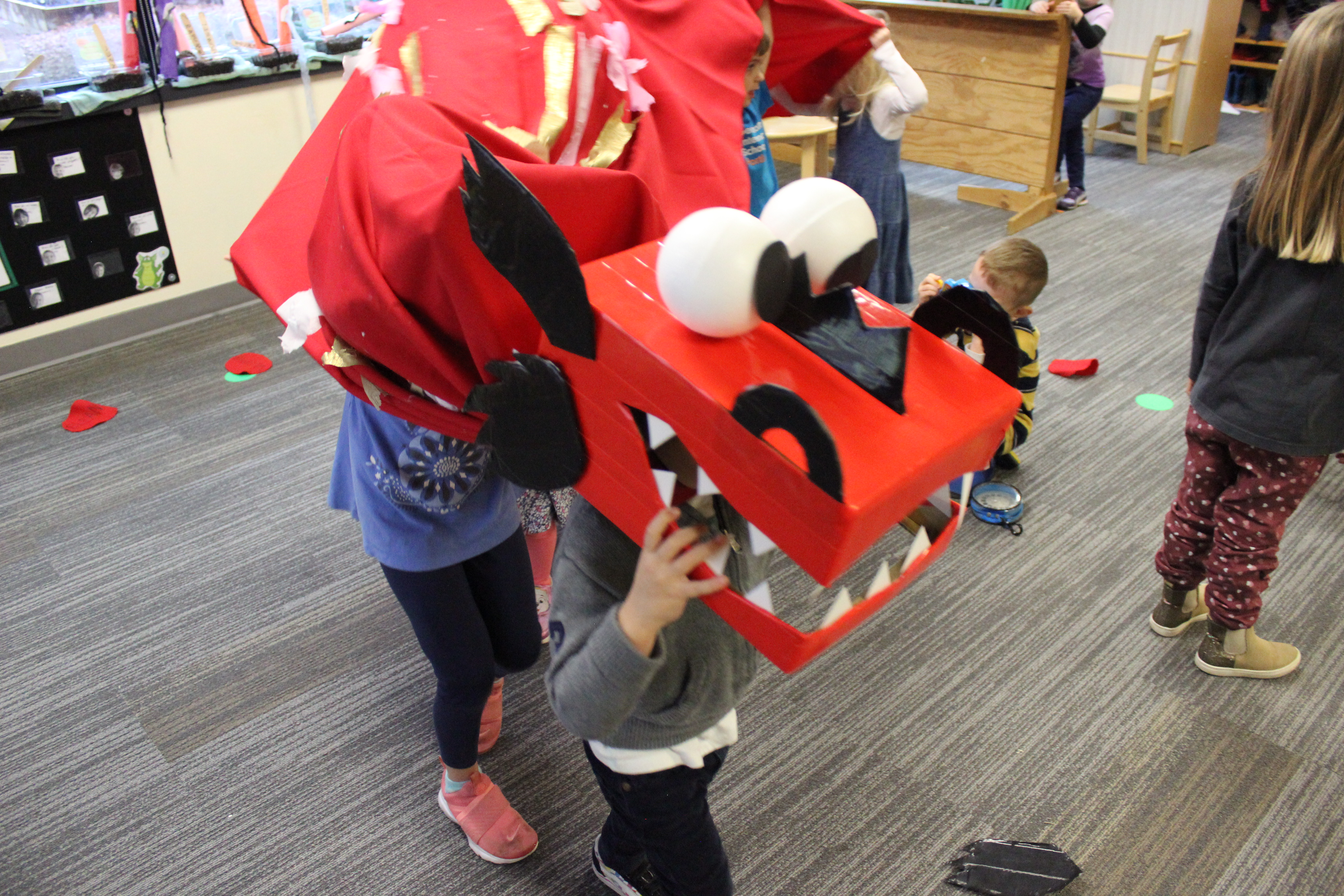 Preschool students pretend to be a dragon underneath a homemade, red dragon for Chinese New Year